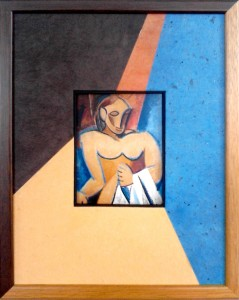 Encadrement carte postale de Picasso avec passe partout composé de quatre papiers de couleur différentes prolongeant le motif. Baguette bois naturel vernis.