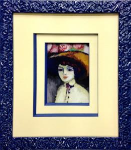 Encadrement d'une reproduction représentant une femme avec un chapeau fleuri