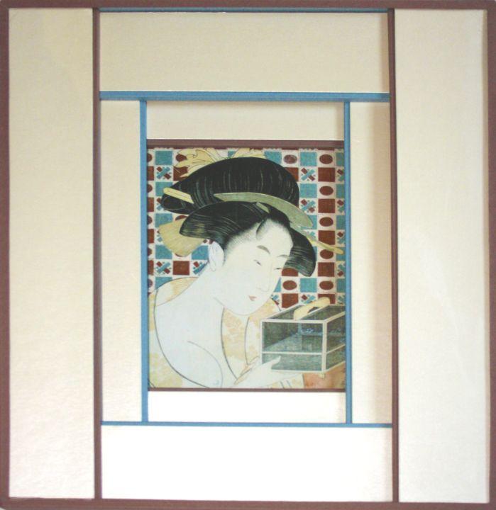 Encadrement d'une reproduction d'une estampe japonaise. Composition de huit bandes intercalées. Ces bandes sont composées de cartonnettes rembordées de papier blanc irisé avec un biseau droit dépassant de papier marron ou bleu. Fermeture papier marron.
