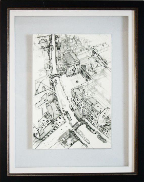 Encadrement entre-deux verres crayonné vue aérienne de Venise. passe-partout blanc deux centimètres de large. Biseau droit blanc. Baguette bois teinté bicolore marron et argent.