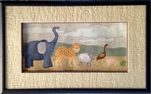 Encadrement d'un dessin en couleur représentant différents animaux. Passe-partout avec papier de riz plissé et biseau droit de couleur mauve. Baguette en bois teinté noir.