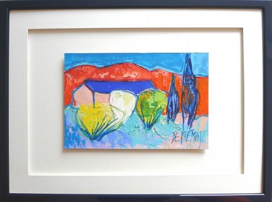 Peinture de de Frémont très colorée représentant une maison dans la campagne - Encadrement avec baguette bleue foncée et passe partout et ouvre sur hausse