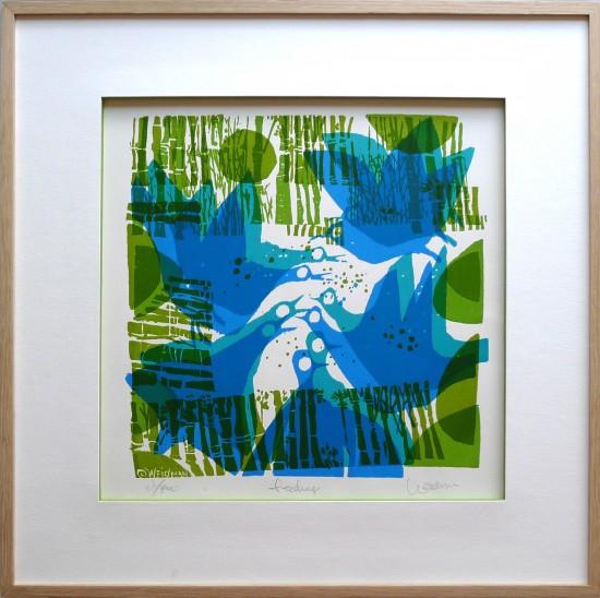 Encadrement gravure contemporaine verte et bleue représentant des oiseaux mangeant.
