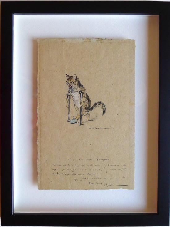 Encadrement entre deux verres sur boitage d'un dessin original représentant un chat avec des béquilles